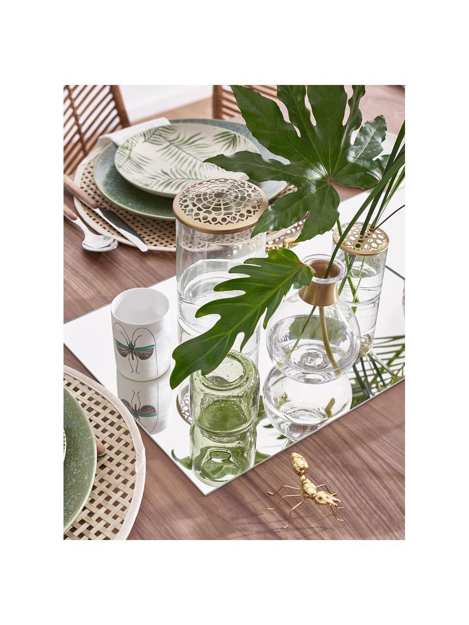 Vase Kassandra mit Messingdeckel, Vase: Glas, Deckel: Edelstahl, vermessingt, Vase: Transparent Deckel: Messing, Ø 10 x H 16 cm