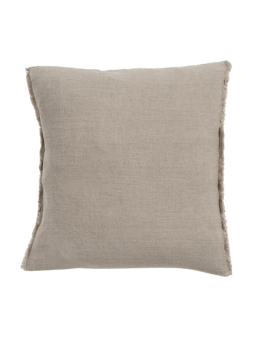 Coussin 50x50 pur lin Sunshine Fringe, Taupe