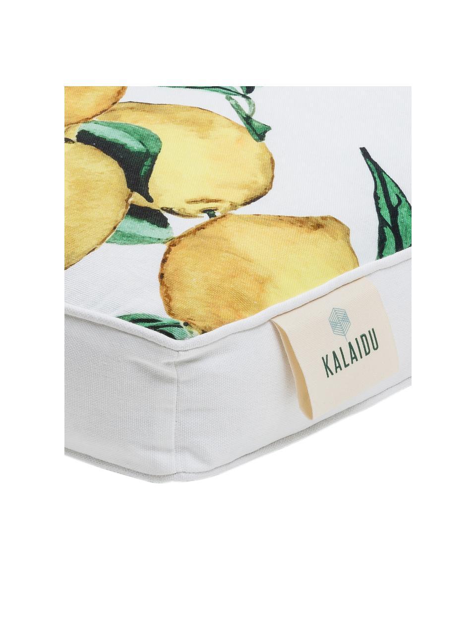 Wysoka poduszka na krzesło Citrus, Żółty, zielony, biały, S 40 x D 40 cm