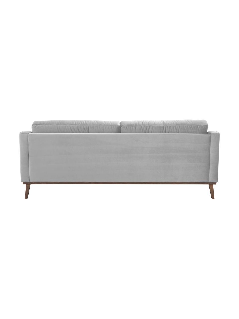 Sofa z aksamitu z nogami z drewna bukowego Alva (3-osobowa), Tapicerka: aksamit (wysokiej jakości, Nogi: lite drewno bukowe, barwi, Aksamitny szary, S 215 x G 92 cm