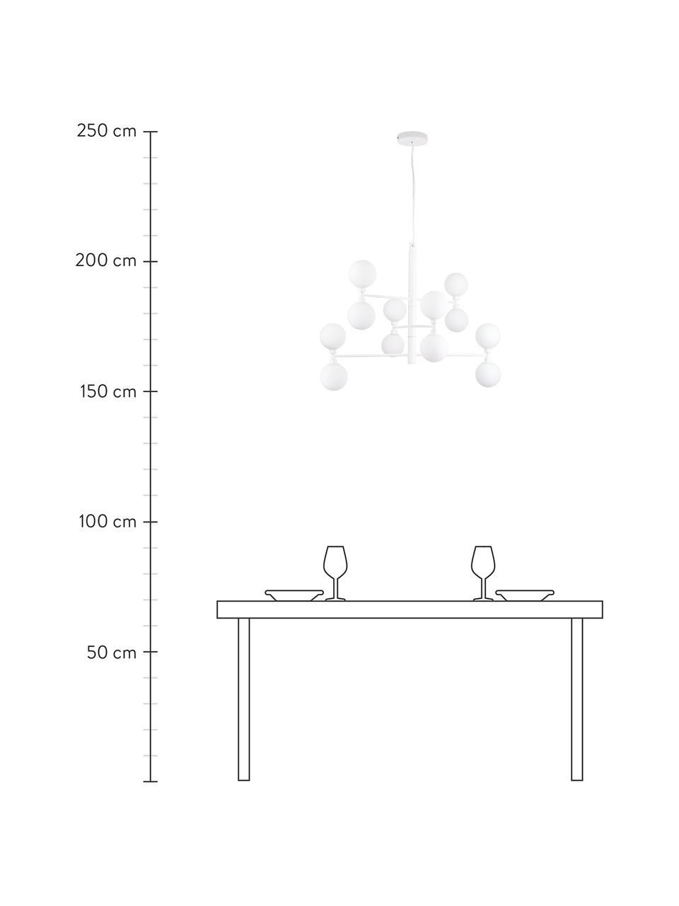 Lampada a sospensione con sfere in vetro Grover, Baldacchino: metallo verniciato a polv, Paralume: vetro opale, Bianco, Ø 70 x Alt. 56 cm