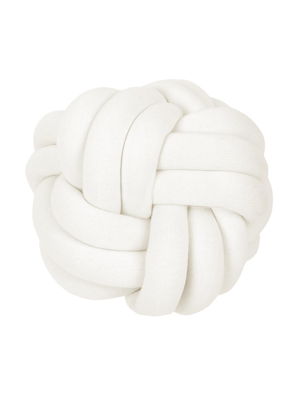 Knoten-Kissen Twist in Weiß, Weiß, Ø 30 cm