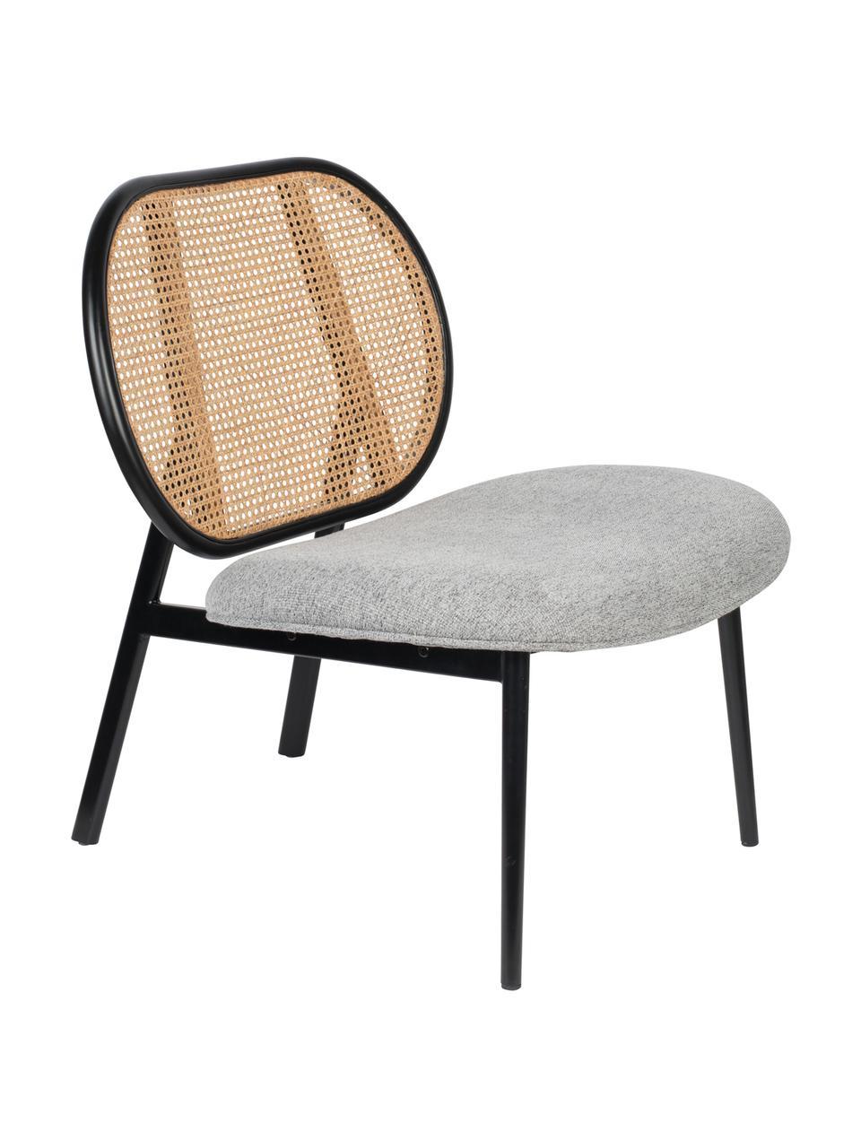Loungefauteuil Spike met Weens vlechtwerk, Bekleding: polyester 100.000 cyclito, Poten: gepoedercoat metaal, Beige, grijs, B 79 x D 70 cm