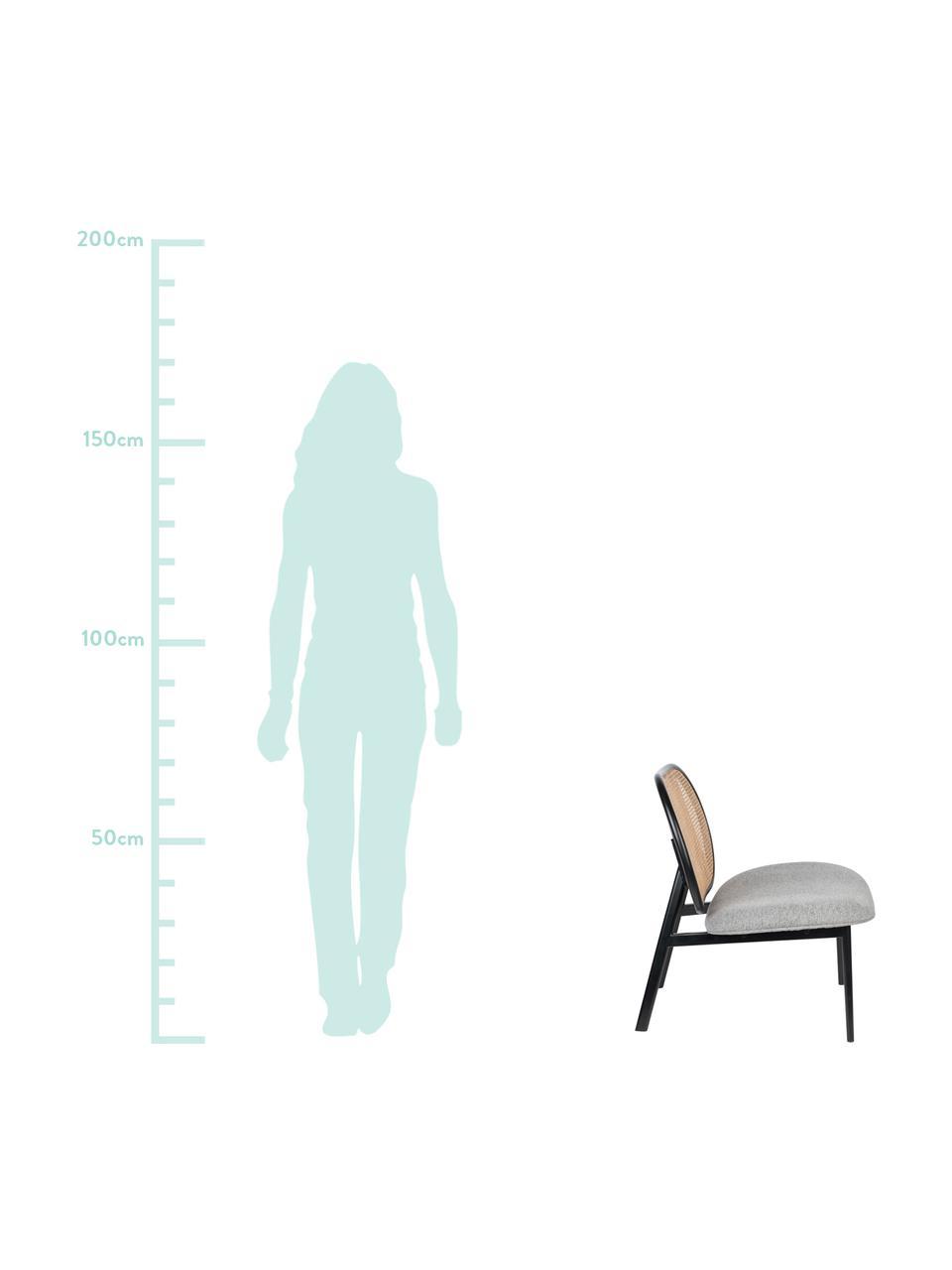 Fotel wypoczynkowy z plecionką wiedeńską Spike, Tapicerka: poliester 100 000 cykli w, Stelaż: rattan, drewno bukowe, Nogi: metal malowany proszkowo, Beżowy, szary, S 79 x G 70 cm
