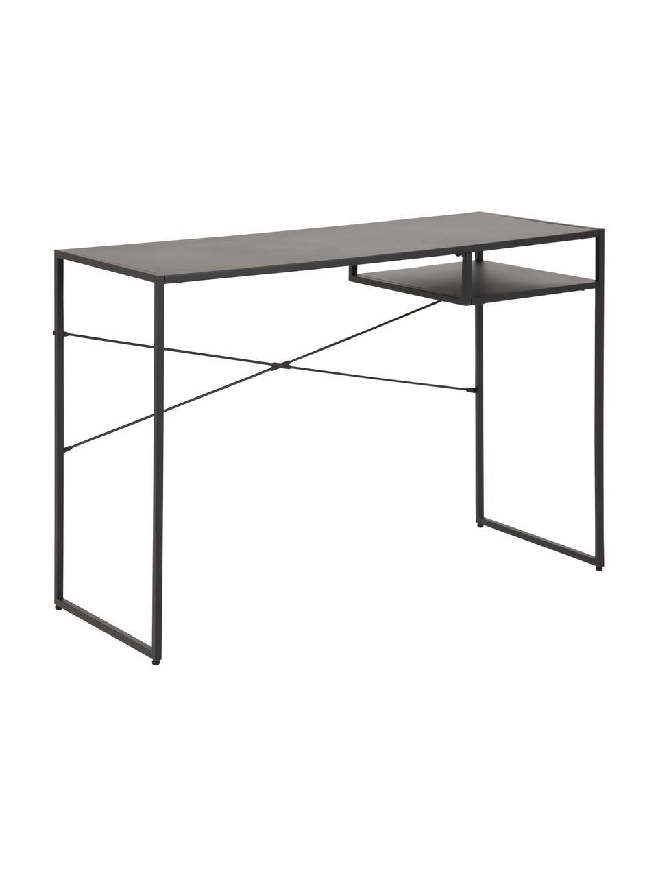 Metall-Schreibtisch Neptun in Schwarz, Metall, beschichtet, Schwarz, B 110 x T 45 cm