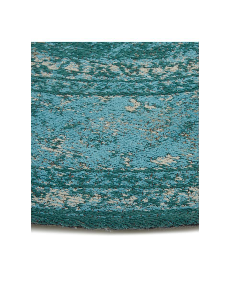 Okrągły dywan szenilowy w stylu vintage Palermo, Turkusowy, jasny niebieski, kremowy, Ø 200 cm (Rozmiar L)