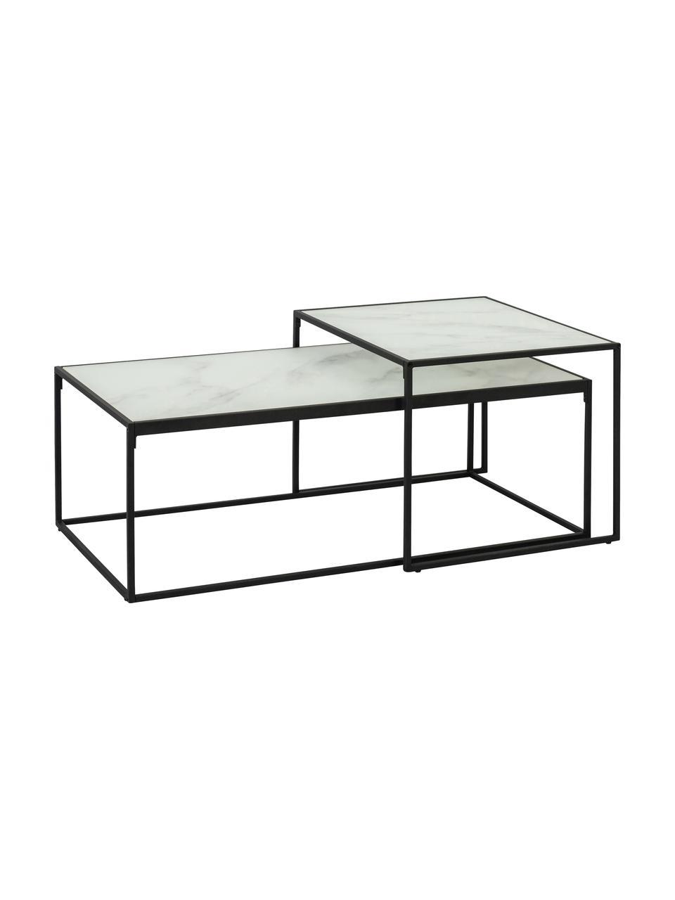 Komplet stolików kawowych Bolton z imitacją marmuru, 2 elem., Stelaż: metal malowany proszkowo, Biały, Komplet z różnymi rozmiarami