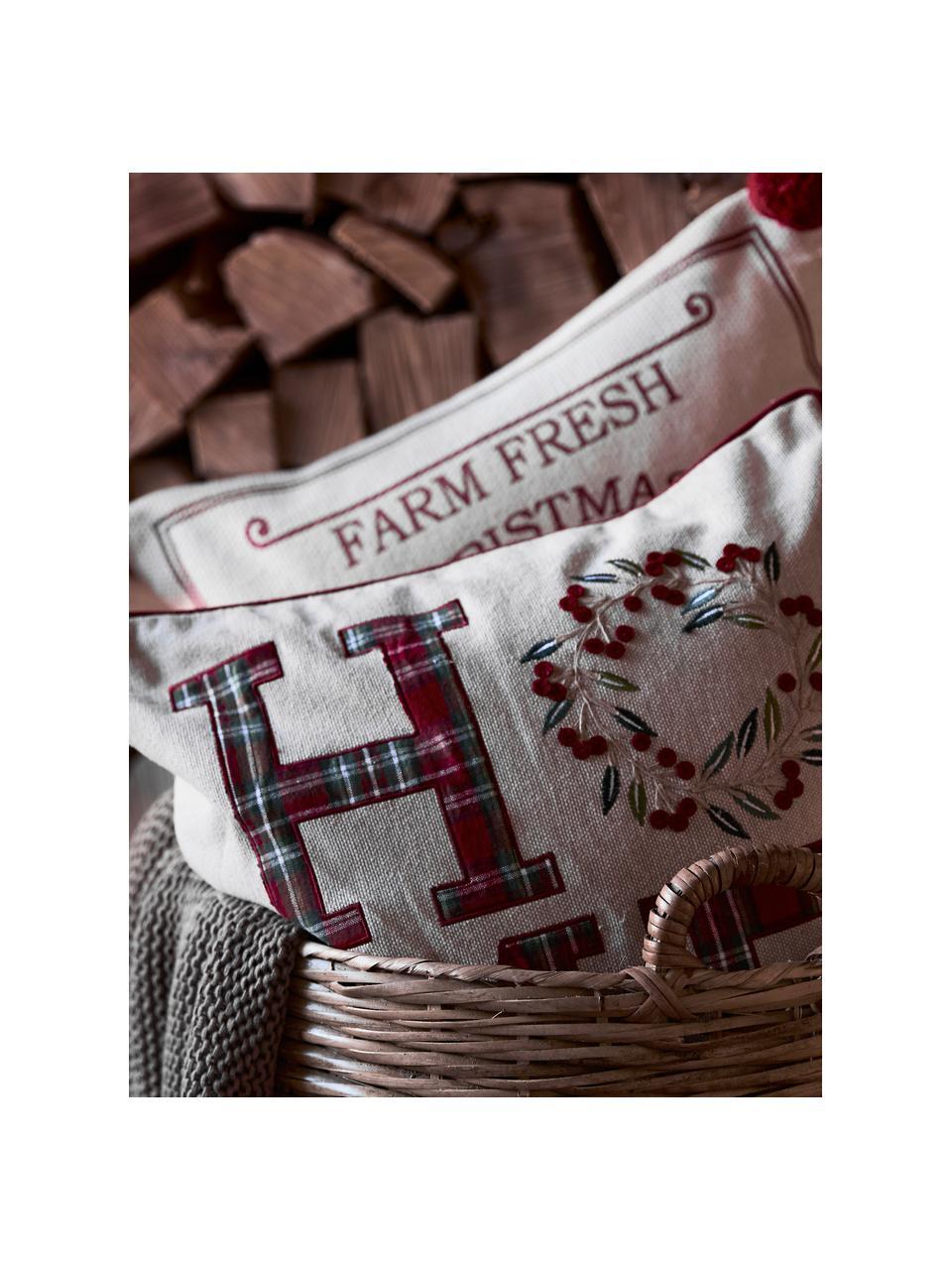 Housse de coussin 45x45 Noël Wreath, Beige, rouge, vert; bordure passepoilée: rouge
