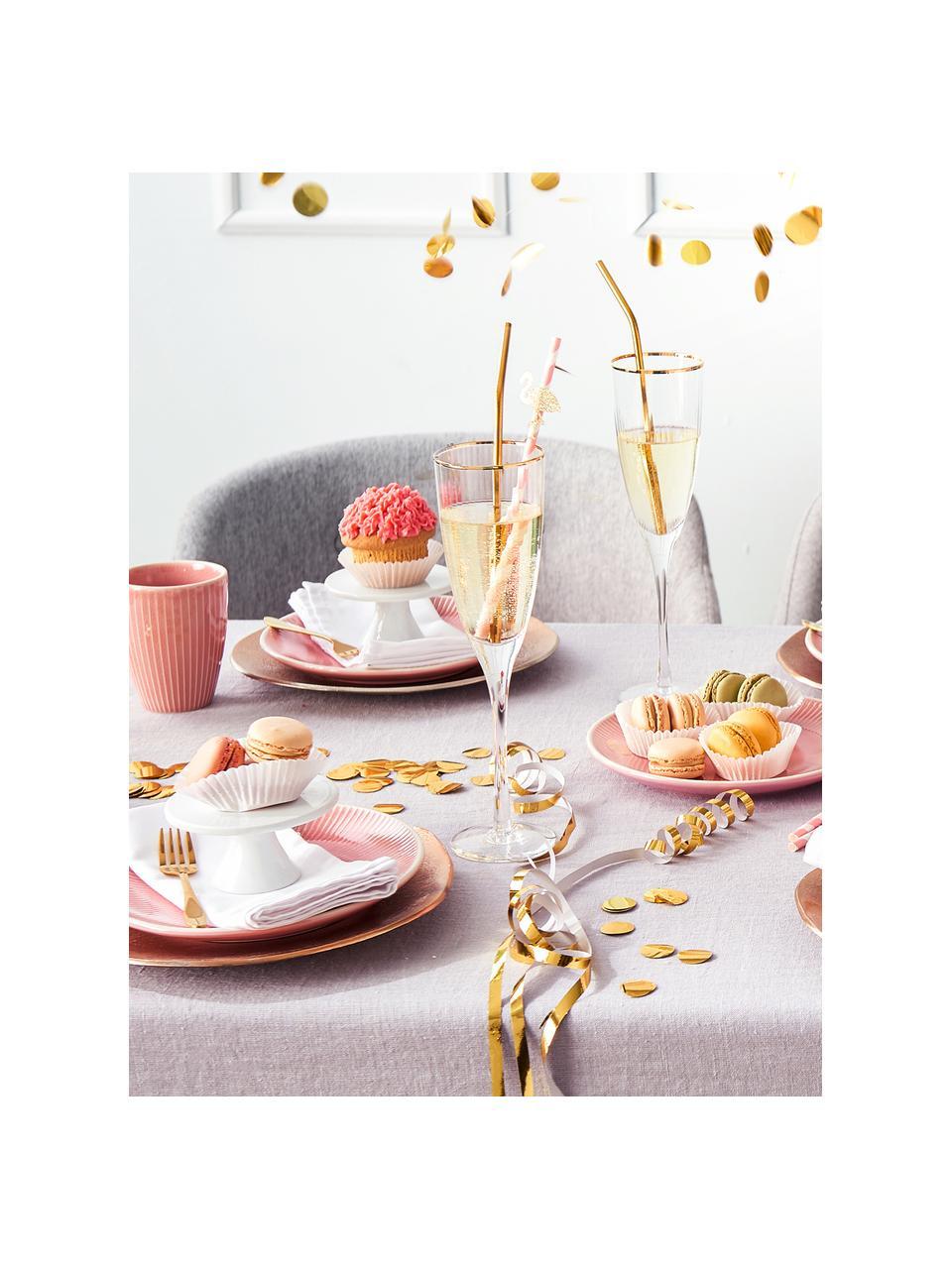 Champagnergläser Golden Twenties mit Goldrand, 4 Stück, Glas, Transparent, Ø 7 x H 26 cm
