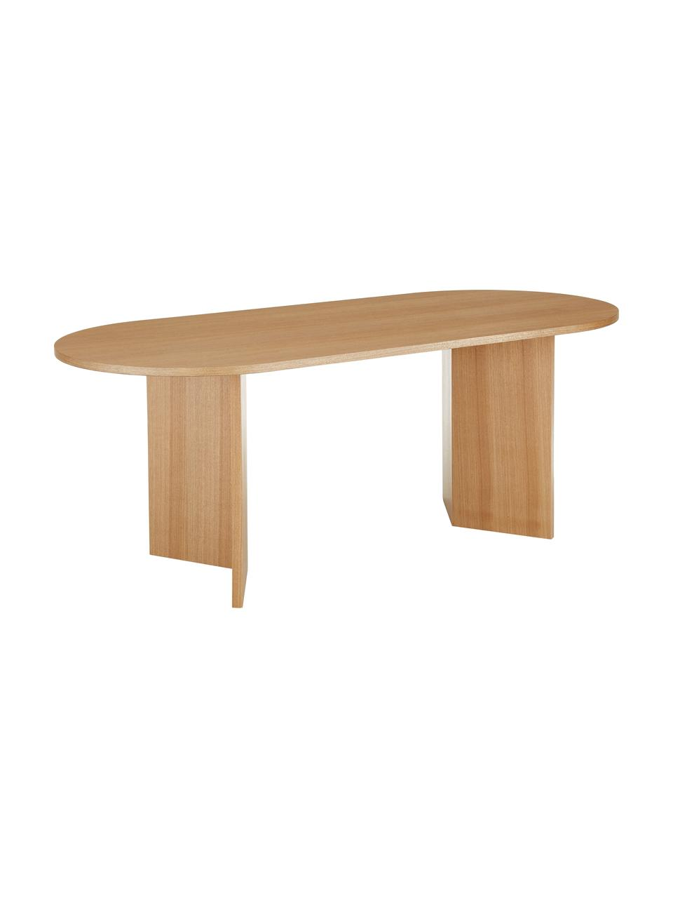 Owalny stół do jadalni z drewna Joni, Płyta pilśniowa średniej gęstości (MDF) z fornirem z drewna jesionowego, lakierowana, Okleina jesionowa, S 200 x G 90 cm