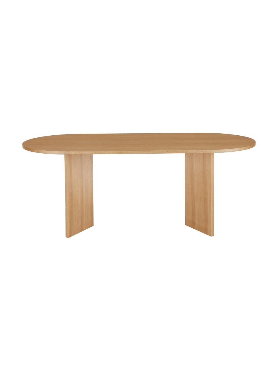 Mesa de comedor ovalada Joni, Tablero de fibras de densidad media (MDF) chapado en madera de fresno pintado, Fresno, An 200 x F 90 cm