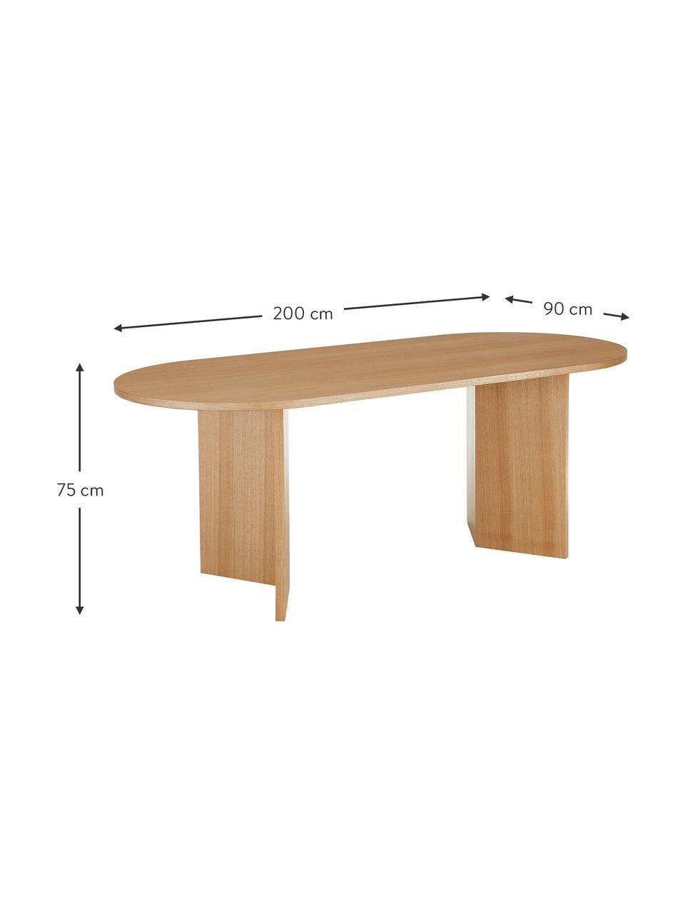 Tavolo ovale in legno con impiallacciatura di frassino Toni, Pannello di fibra a media densità (MDF) con finitura in frassino, verniciato, Finitura in frassino, Larg. 200 x Prof. 90 cm