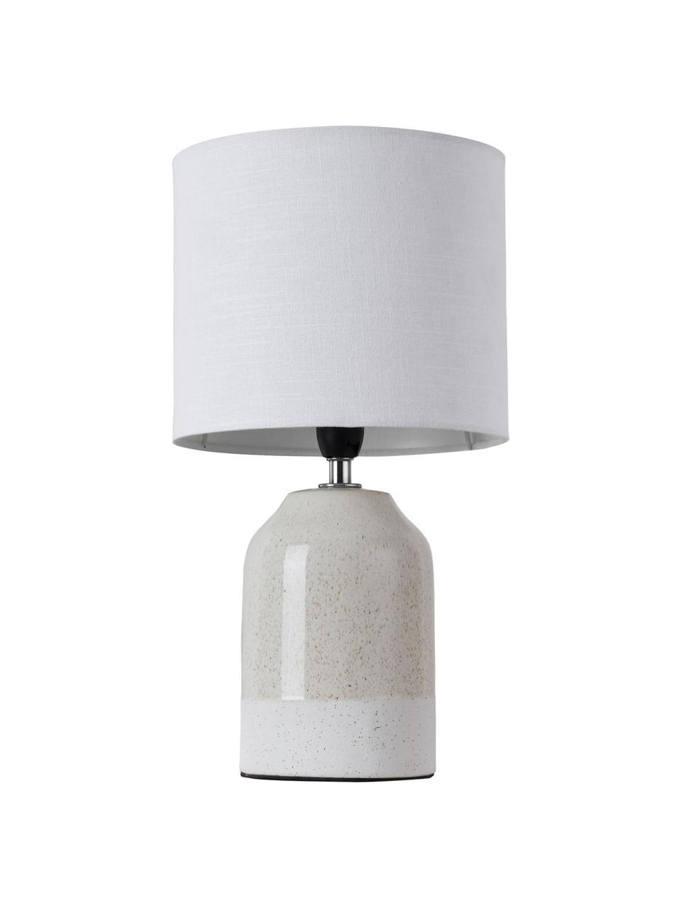 Kleine Nachttischlampe Sandy Glow aus Keramik, Lampenschirm: Leinen, Lampenfuß: Keramik, Beige, Weiß, Ø 18 x H 33 cm
