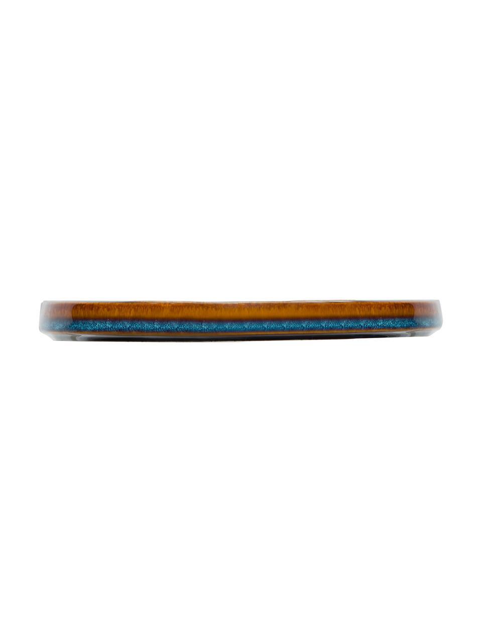 Ręcznie wykonany talerz śniadaniowy Quintana, 2 szt., Porcelana, Odcienie bursztynowego, brązowy, niebieski, Ø 22 cm