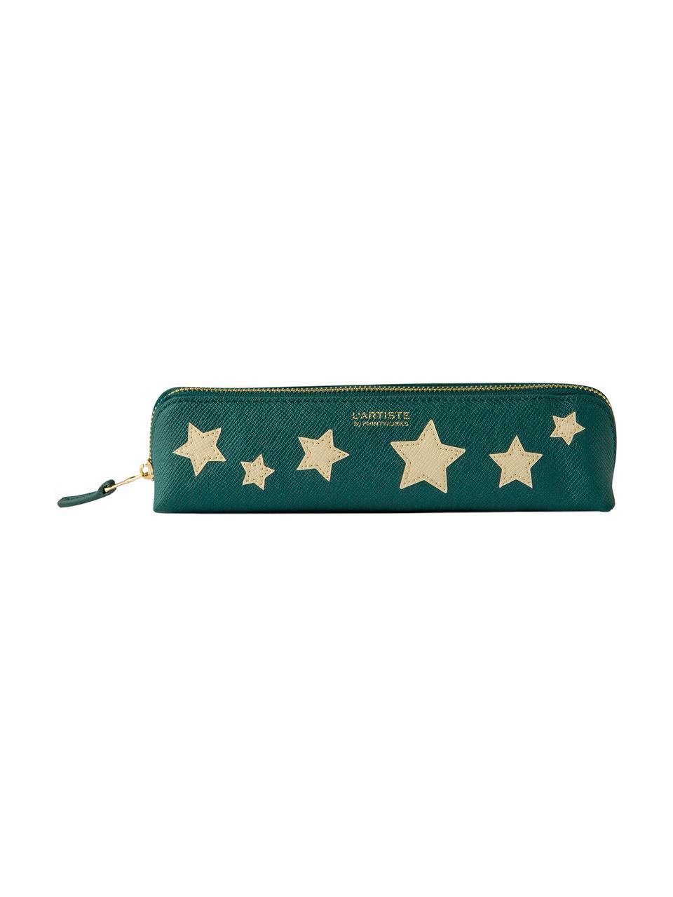 Stifte-Etui Stars, Kunstleder, Beige, Grün, Goldfarben, 21 x 6 cm