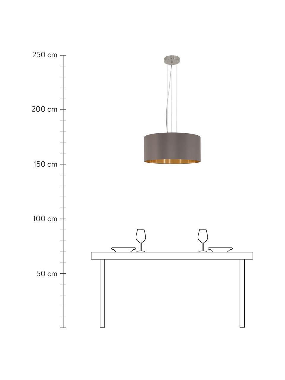 Lampada a sospensione con decoro dorato Jamie, Baldacchino: metallo nichelato, Argentato, grigio-beige, Ø 53 x Alt. 24 cm