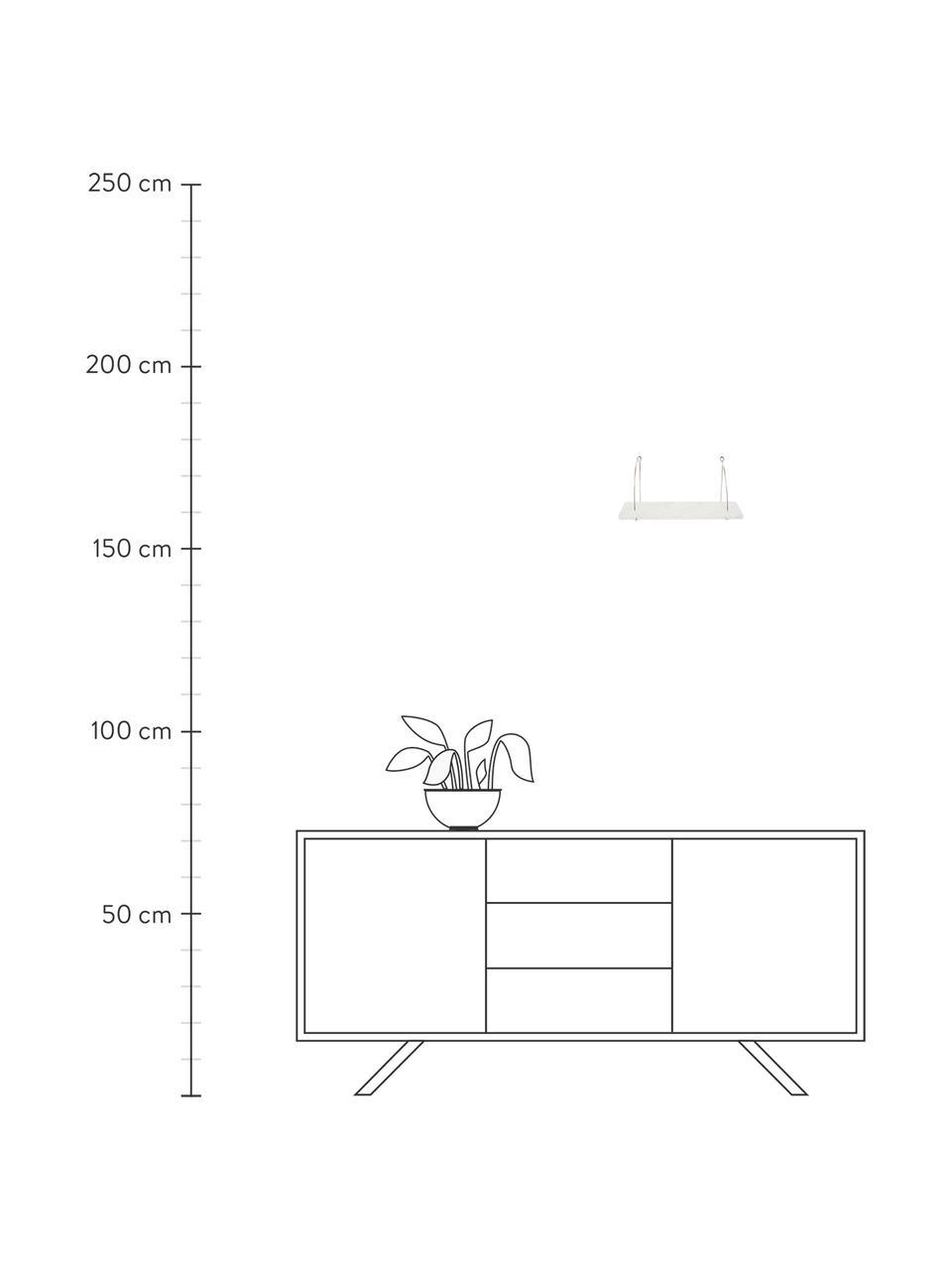 Marmeren wandplank Porter, Plank: marmer, Wandbevestiging: edelstaalkleurig. Plank: gemarmerd wit, 60 x 24 cm
