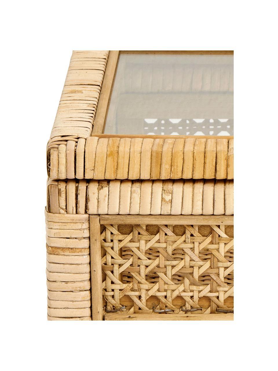 Scatola Granell, Scatola: bambù, Coperchio: vetro, Legno di bambù, Larg. 37 x Alt. 11 cm