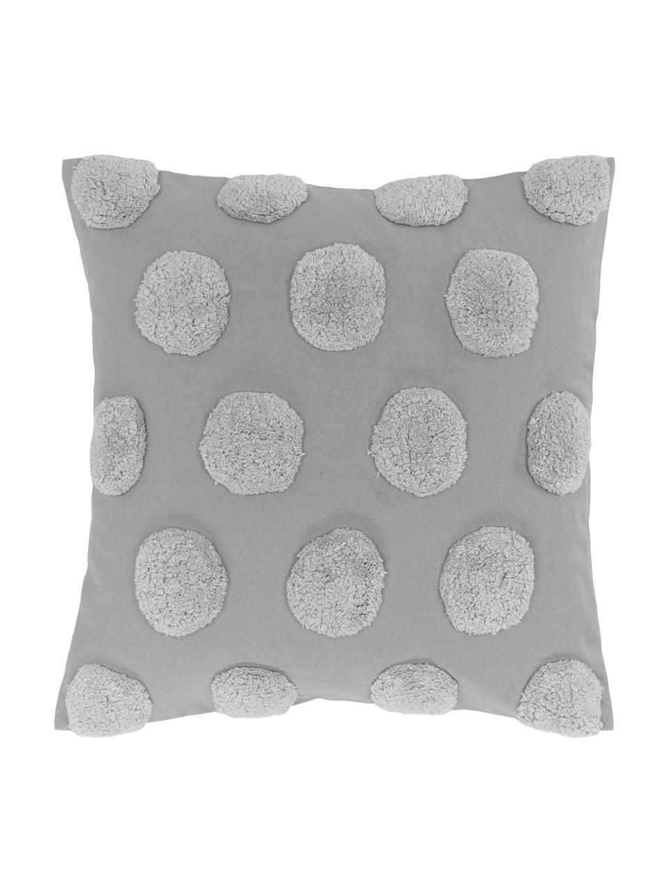 Kissenhülle Rowen mit getuftetem Muster, 100% Baumwolle, Grau, 50 x 50 cm