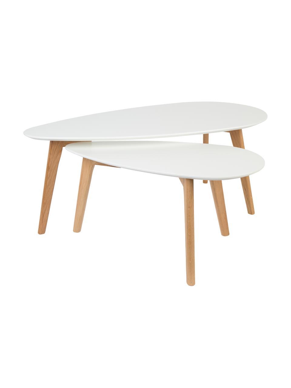 Komplet stolików kawowych Nordic, 2 elem., Blat: płyta pilśniowa o średnie, Nogi: drewno dębowe, Blat: biały Nogi: drewno dębowe, Komplet z różnymi rozmiarami