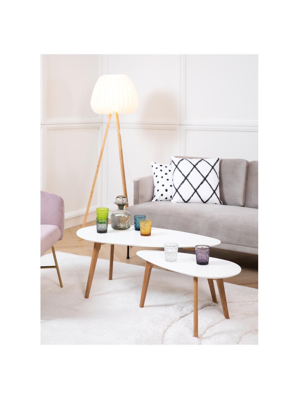 Set 2 tavolini da salotto scandi Nordic, Gambe: legno di quercia massicci, Piani d'appoggio: bianco Gambe: legno di quercia, Set in varie misure