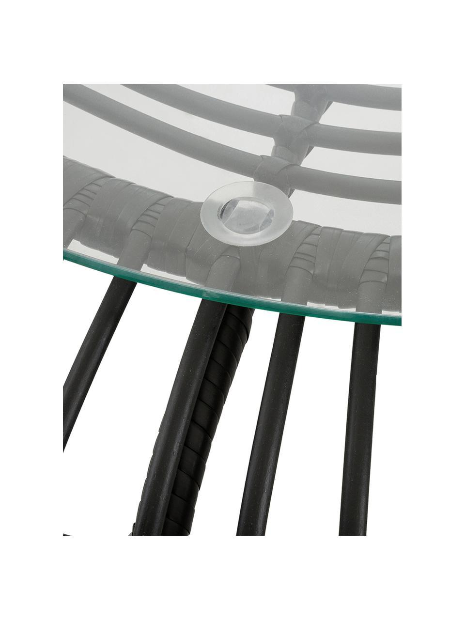 Polyrattan-Couchtisch Costa in Schwarz, Tischplatte: Glas, Stärke, Gestell: Polyethylen-Geflecht, Schwarz, Ø 85 x H 42 cm