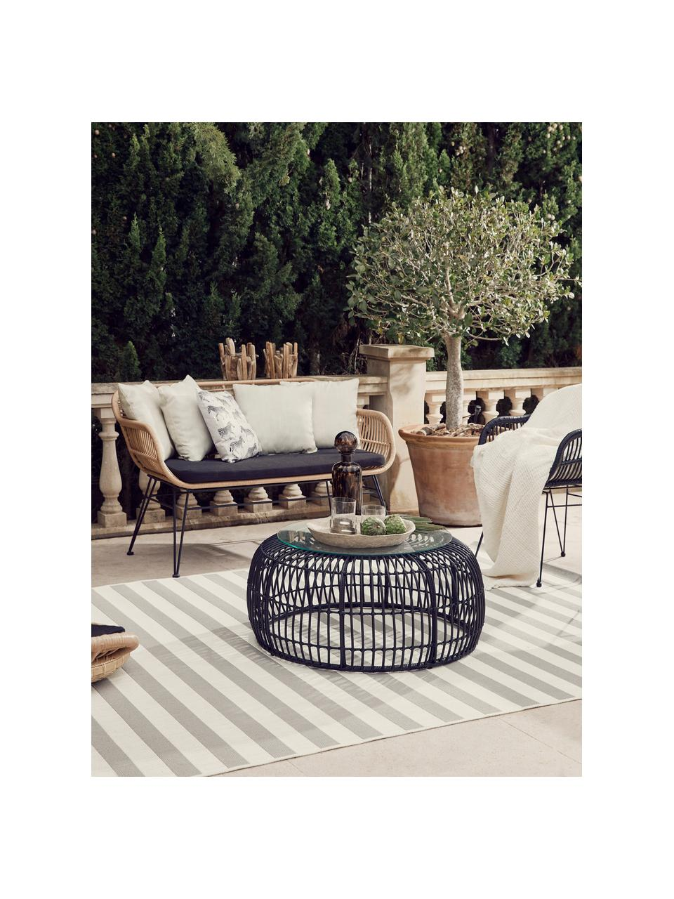 Tavolino da giardino intrecciato Costa, Piano d'appoggio: vetro, spessore, Struttura: intreccio in polietilene, Nero, Ø 85 x Alt. 42 cm