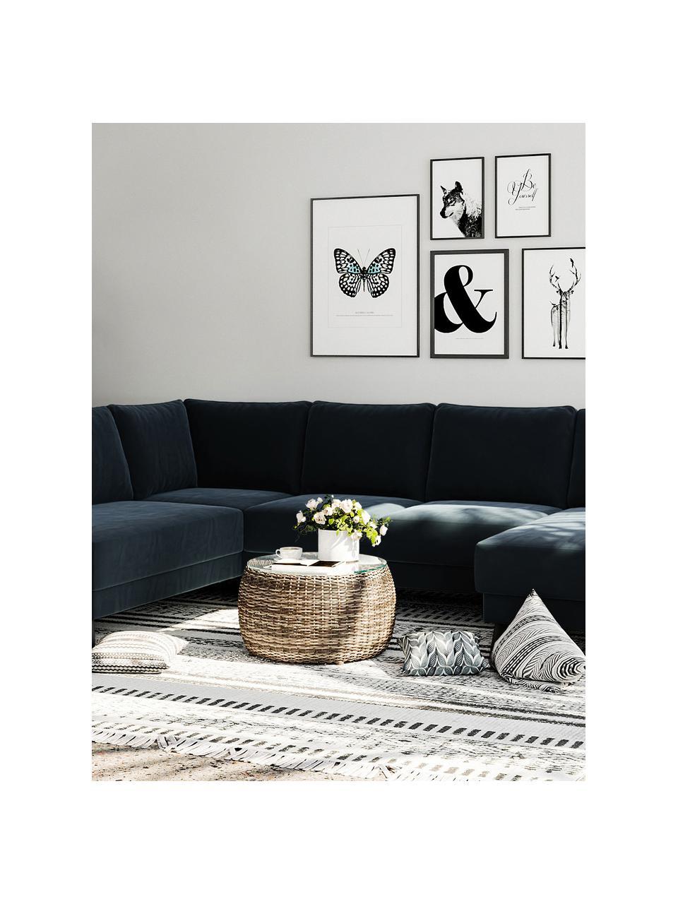 Sofa narożna XL z aksamitu Fynn, Tapicerka: 100% aksamit poliestrowy, Stelaż: drewno liściaste, drewno , Nogi: drewno lakierowane Dzięki, Ciemny niebieski, S 306 x G 200 cm