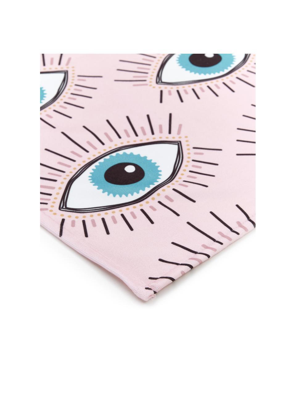 Licht strandlaken Eyes oogmotief, 55% polyester, 45% katoen zeer lichte kwaliteit, 340 g/m², Roze, multicolour, 70 x 150 cm