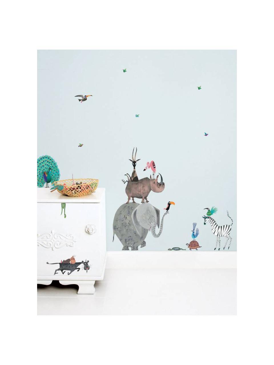 Wandaufkleber-Set Animals, 23-tlg., Selbstklebende Vinylfolie, matt, Mehrfarbig, 42 x 59 cm
