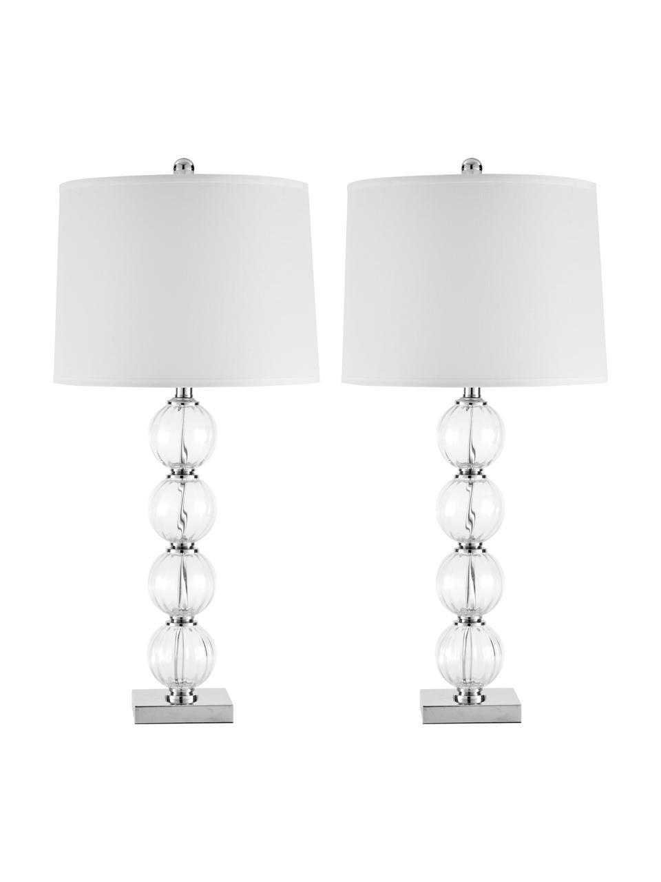 Lampada da tavolo Luisa 2 pz, Paralume: poliestere, Base della lampada: vetro, Presa di corrente: metallo, Paralume: bianco Base della lampada: trasparente, Ø 38 x Alt. 76 cm