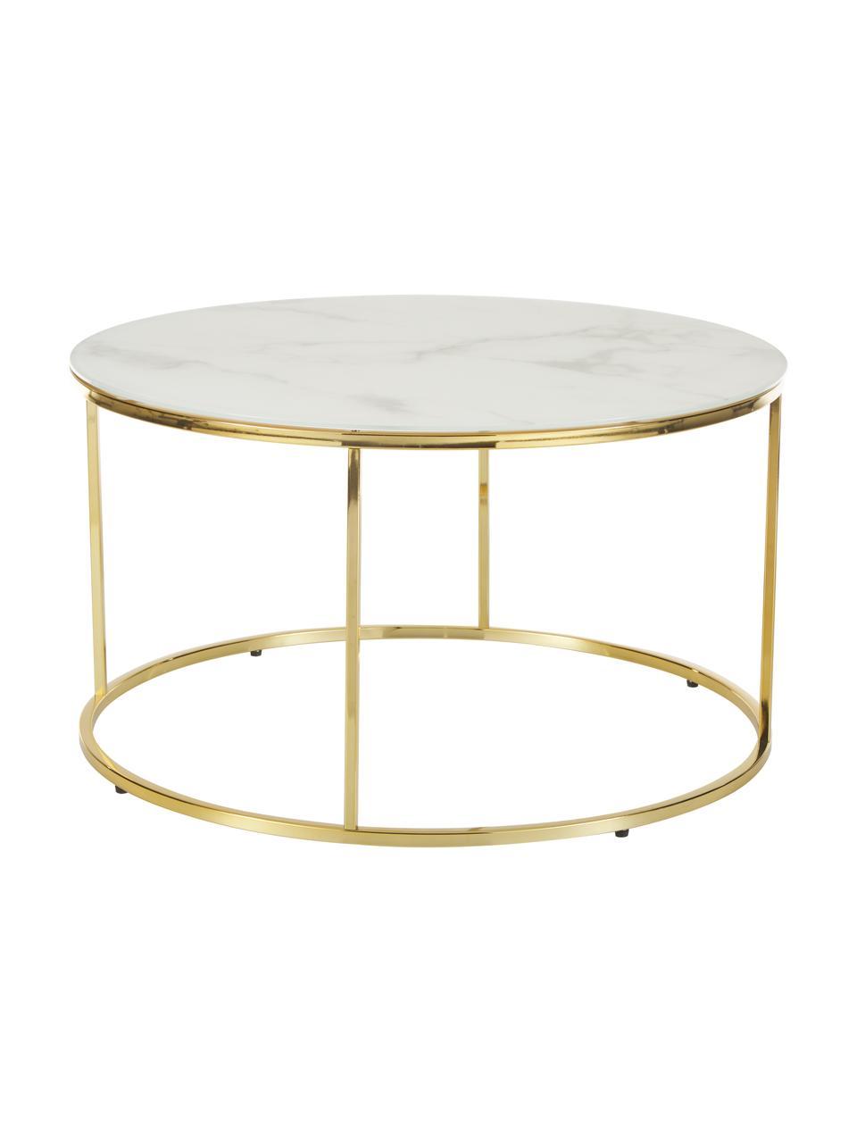 Tavolino da salotto con piano in vetro effetto marmo Antigua, Struttura: acciaio ottonato, Bianco-grigio marmorizzato, dorato, Ø 80 x Alt. 45 cm