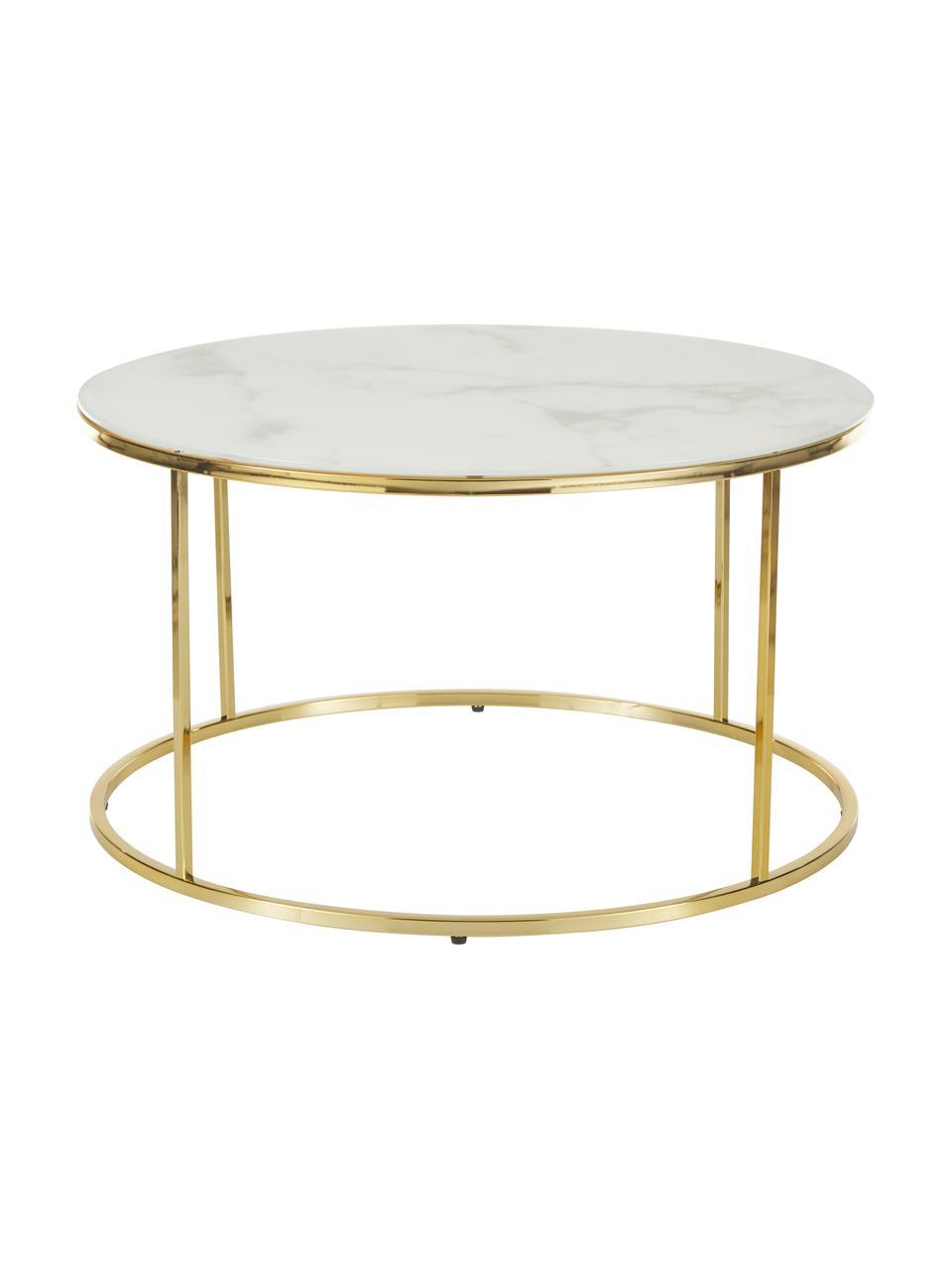 Table basse en verre marbré Antigua, Blanc-gris marbré, couleur dorée