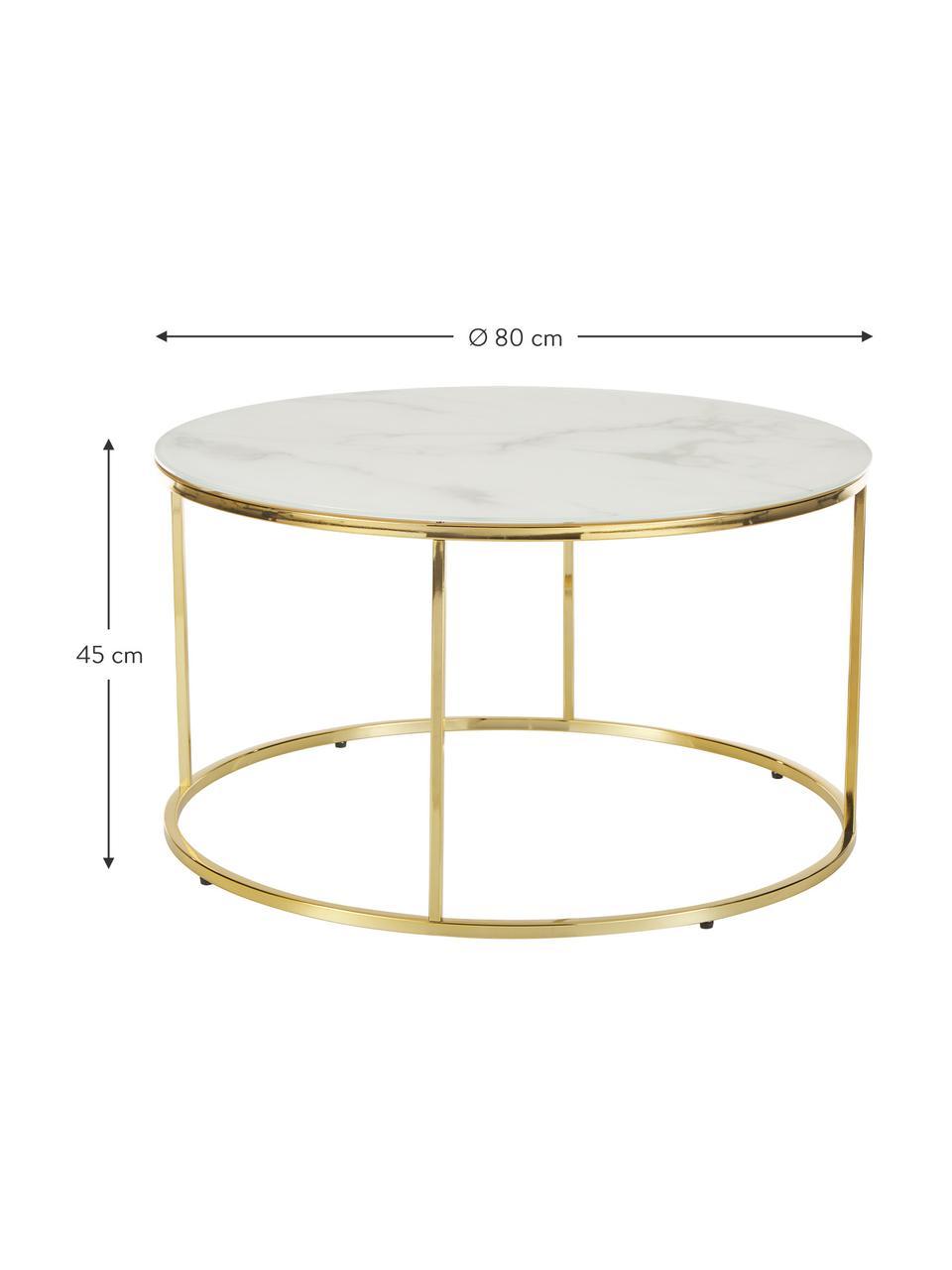 Salontafel Antigua met gemarmerde glazen tafelblad, Tafelblad: glas, mat bedrukt, Frame: vermessingd staal, Wit-grijs gemarmerd, goudkleurig, Ø 80 x H 45 cm