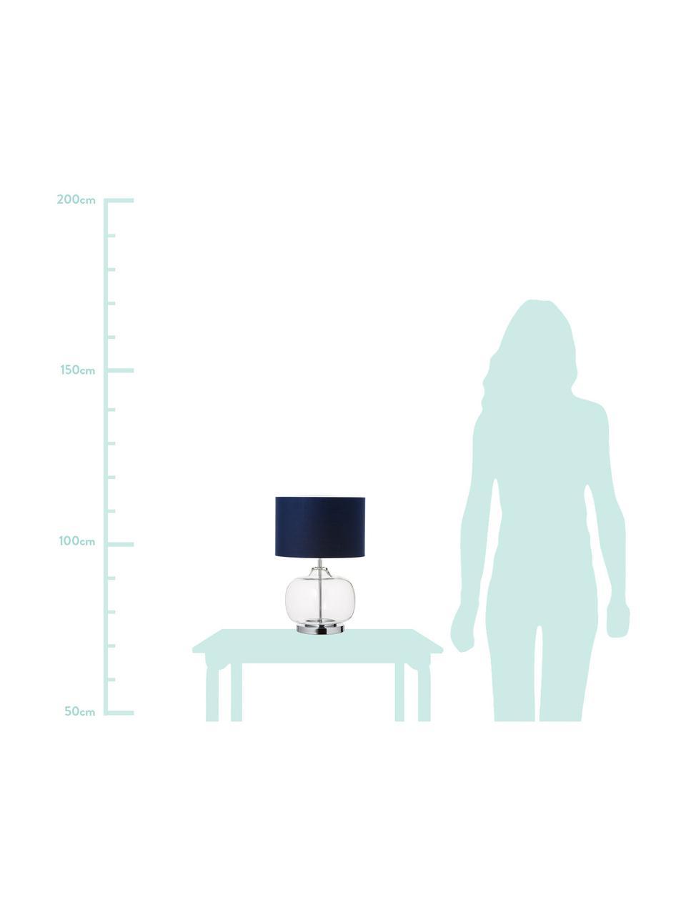 Transparente Tischlampe Amelia aus Glas, Lampenfuß: Glas, Lampenschirm: Baumwolle, Sockel: Metall, verchromt, Dunkelblau, ∅ 28 x H 41 cm