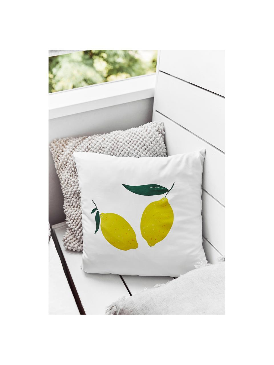 Kissenhülle Lemon mit Zitronen, 100% Polyester, Weiß, Gelb, Grün, 45 x 45 cm