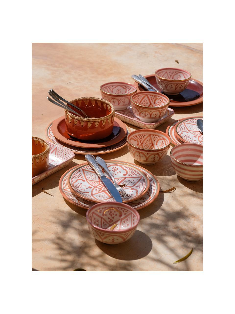 Handgemachter marokkanischer Frühstücksteller Assiette mit Goldrand, Keramik, Orange, Cremefarben, Gold, Ø 20 cm