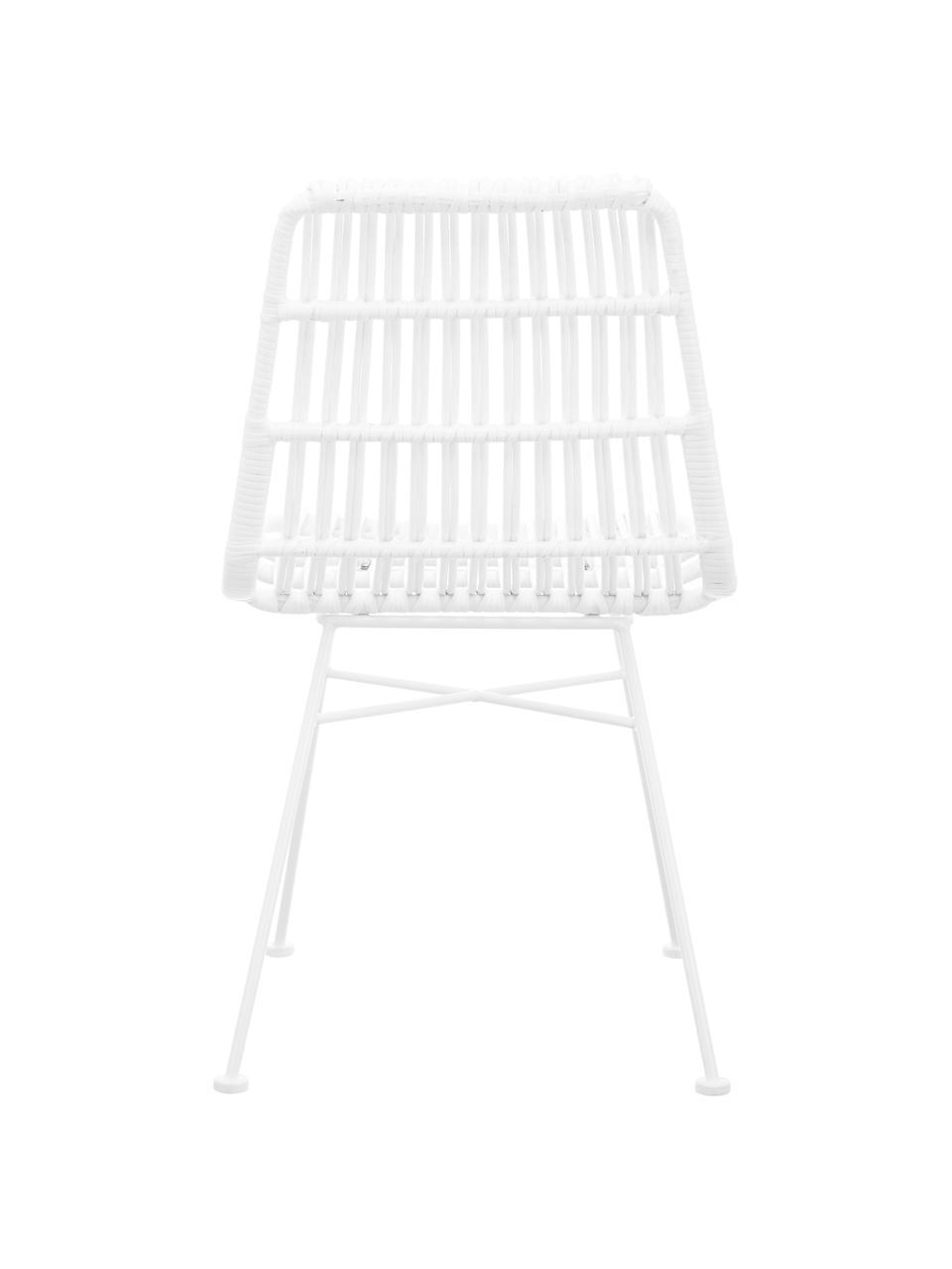 Polyrattan-Stühle Costa, 2 Stück, Sitzfläche: Polyethylen-Geflecht, Gestell: Metall, pulverbeschichtet, Weiß, Weiß, B 47 x T 61 cm
