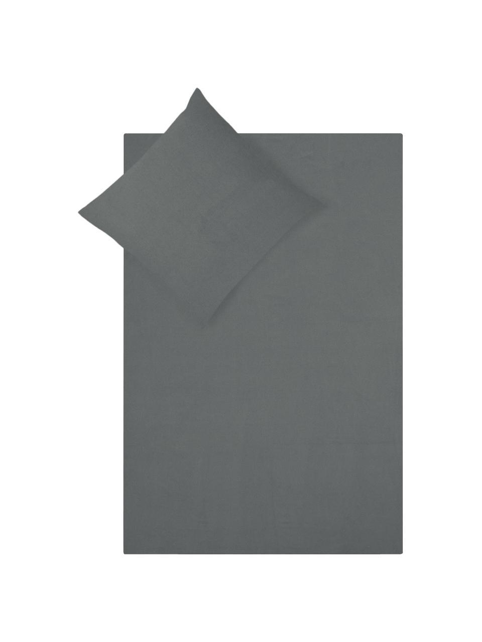 Pościel z flaneli Biba, Ciemny szary, 155 x 220 cm + 1 poduszka 80 x 80 cm