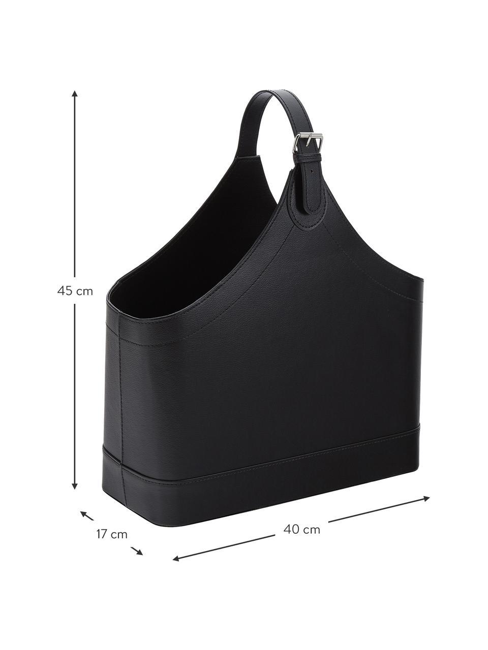 Zeitschriftenhalter Ready, Gestell: Karton, Bezug: Polyurethan, Verschluss: Metall, Zeitschriftenhalter: Schwarz Verschluss: Metall, 40 x 45 cm