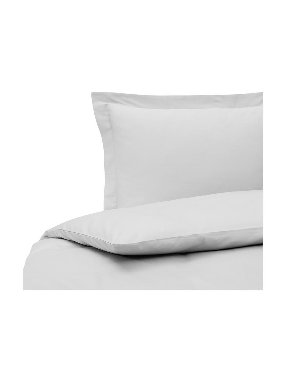Parure copripiumino in raso di cotone grigio chiaro Premium, Grigio chiaro, 155 x 200 cm