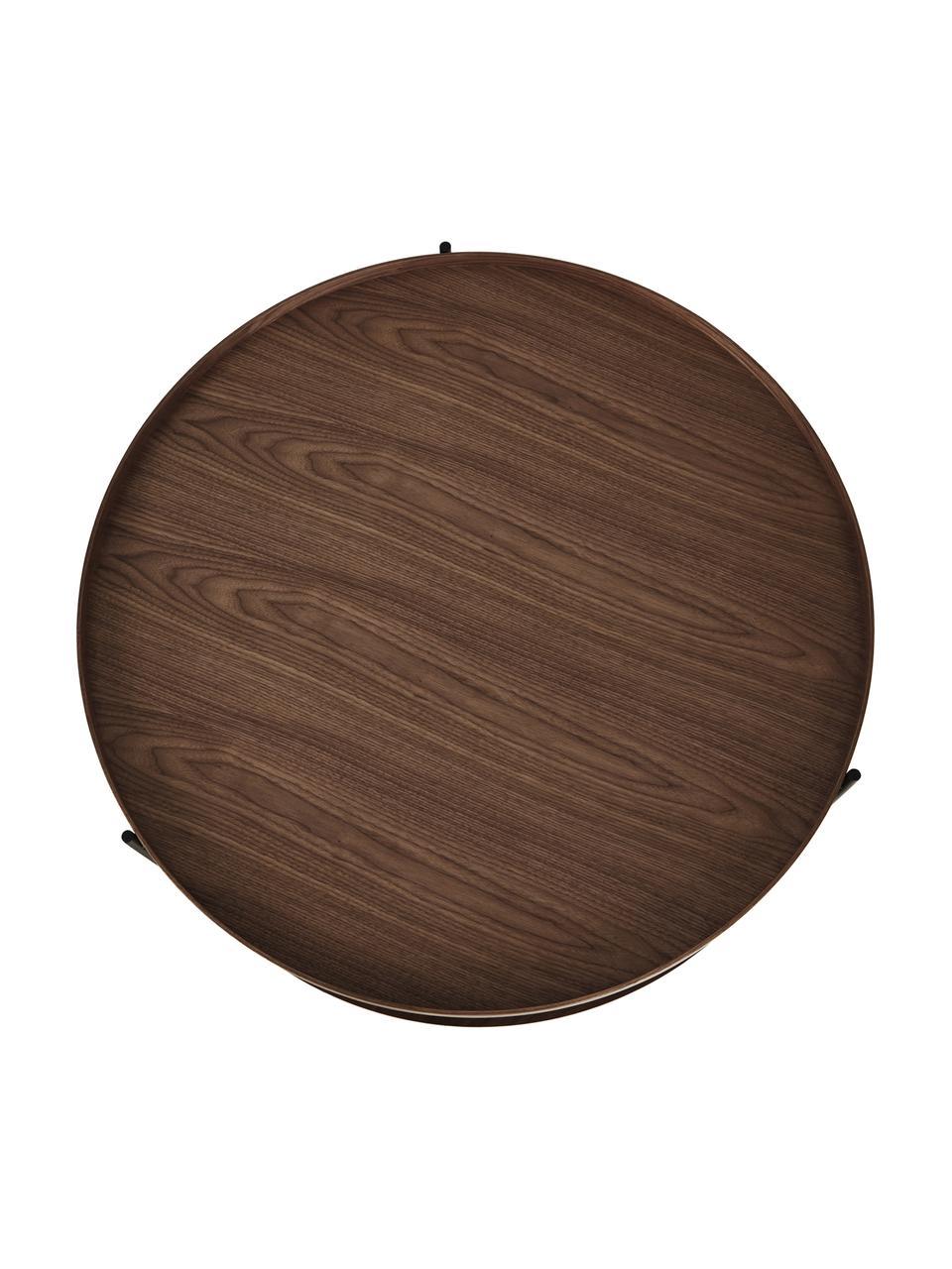 Großer Holz-Couchtisch Renee mit Walnussholzfurnier, Gestell: Metall, pulverbeschichtet, Walnussholz, Ø 90 x H 39 cm