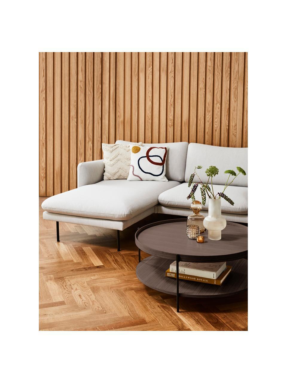 Grote salontafel Renee met opbergvak, Frame: gepoedercoat metaal, Bruin, Ø 90 x H 39 cm