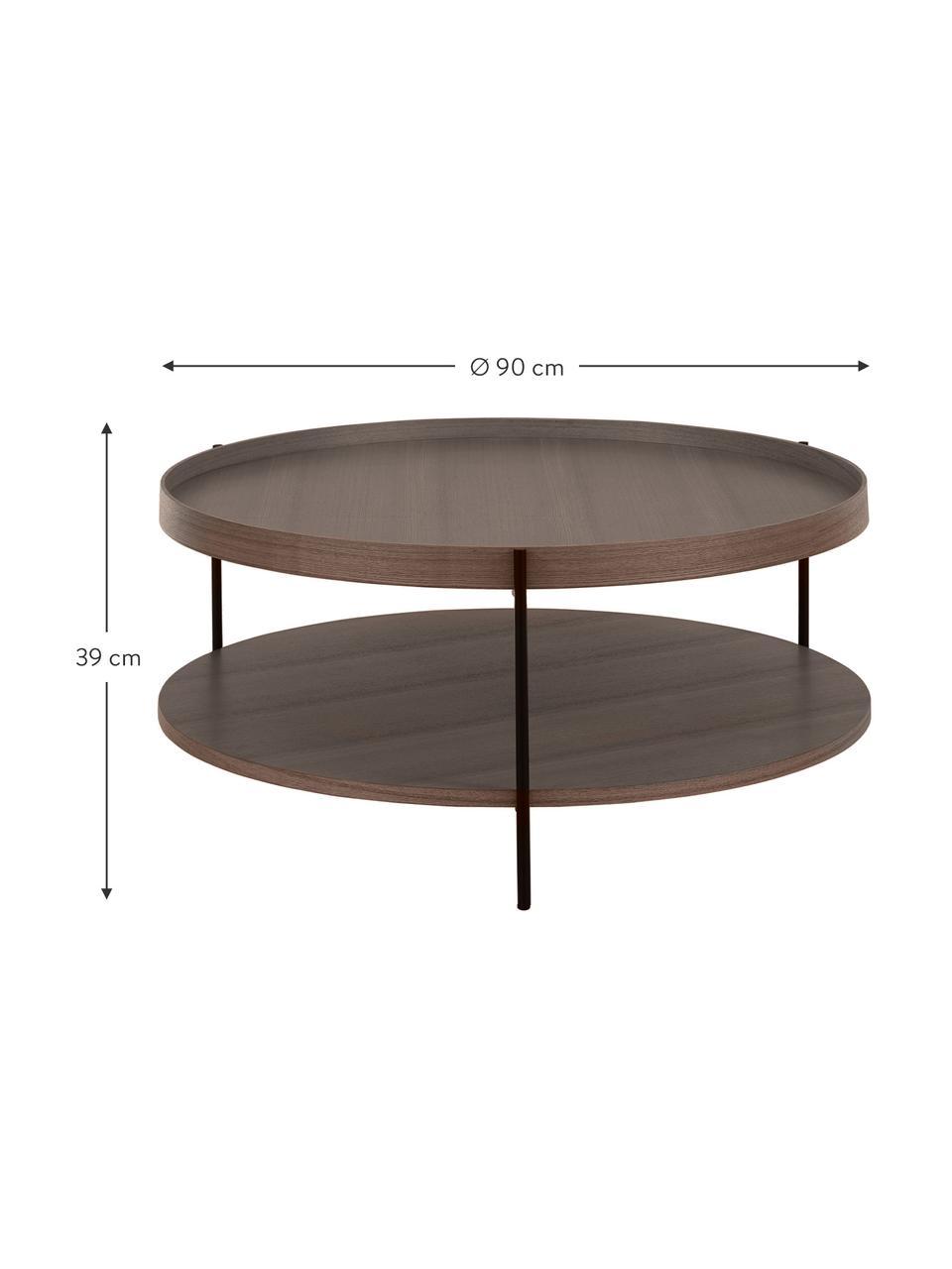 Großer Couchtisch Renee mit Ablagefach, Gestell: Metall, pulverbeschichtet, Braun, Ø 90 x H 39 cm