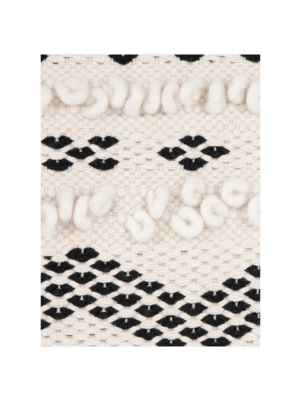 Boho Kissenhülle Paco mit dekorativer Verzierung, 80% Baumwolle, 20% Wolle, Ecru, Schwarz, 45 x 45 cm