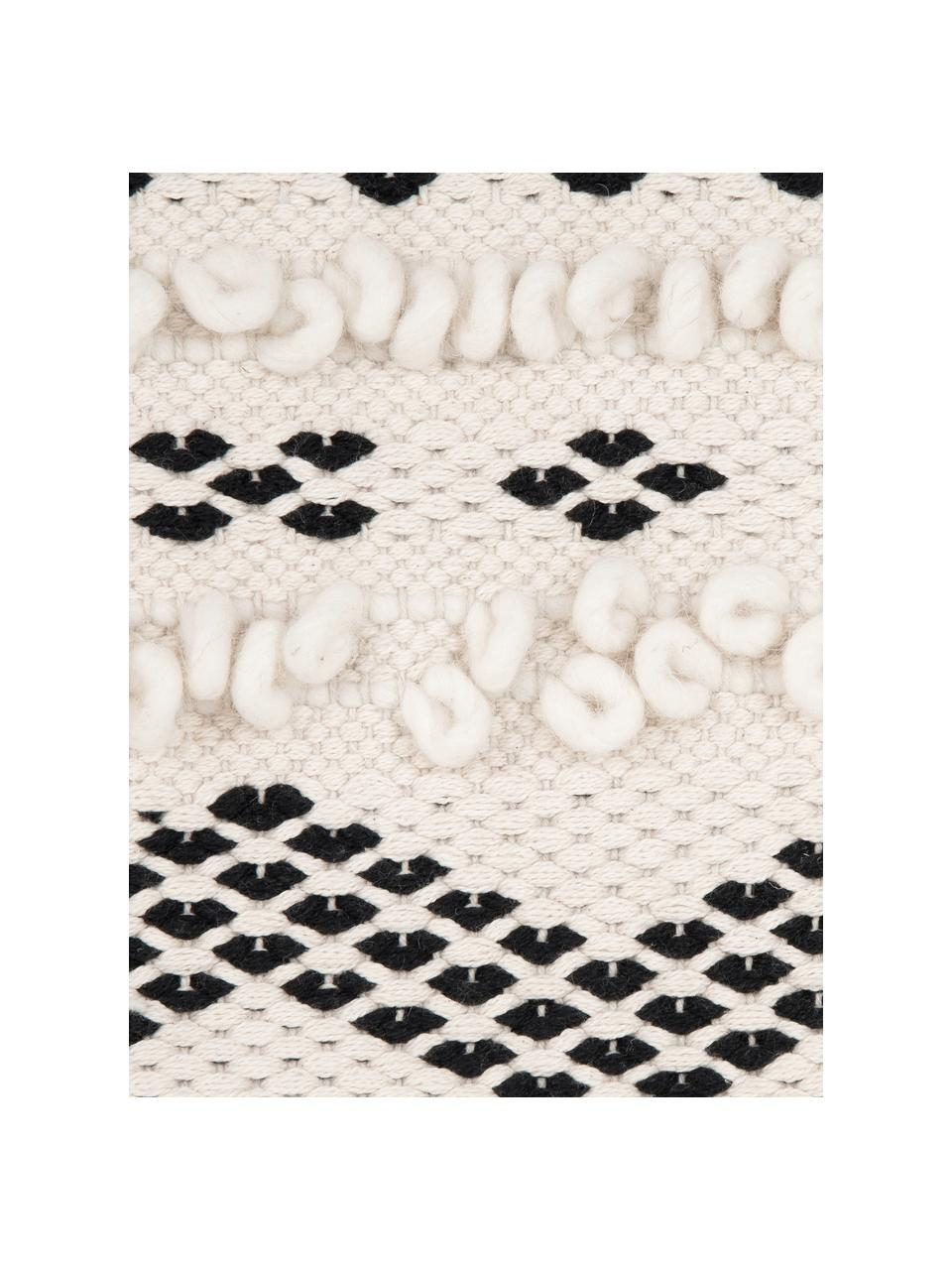 Federa arredo con ornamenti decorativi Paco, 80% cotone, 20% poliestere, Beige, nero, Larg. 45 x Lung. 45 cm