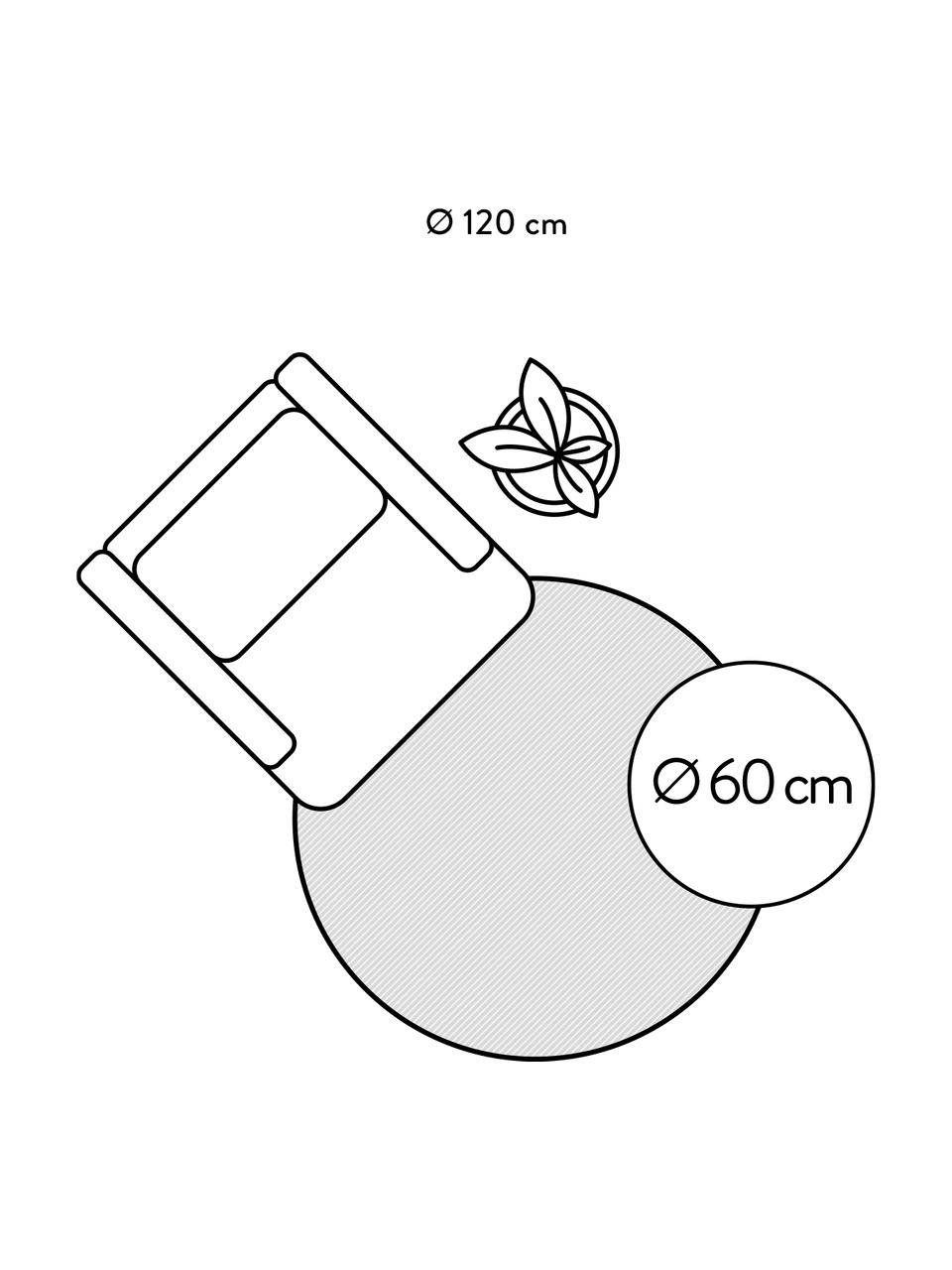 Okrągły ręcznie tuftowany dywan z bawełny w stylu boho z frędzlami Frame, 100% bawełna, Beżowy, czarny, Ø 150 cm (Rozmiar M)