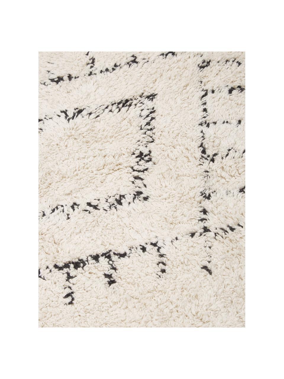 Rond boho katoenen vloerkleed Frame met franjes, handgetuft, 100% katoen, Beige, zwart, Ø 150 cm (maat M)