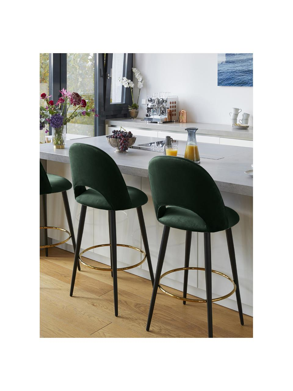 Sedia da bar in velluto verde scuro Rachel, Rivestimento: velluto (poliestere) 50.0, Gambe: metallo verniciato a polv, Velluto verde scuro, Larg
