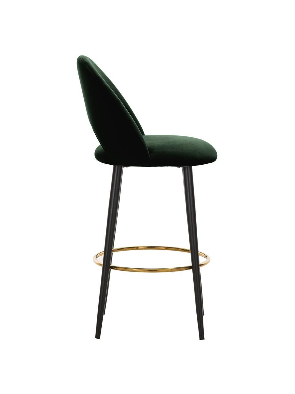 Chaise de bar velours Rachel, Velours vert foncé